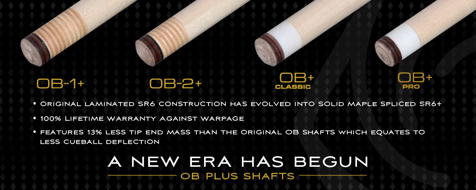 OB Pool Cues and Shafts - Low Deflection Pool Cues built in