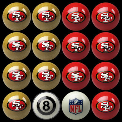 SAN FRANCISCO 49ERS HOME & AWAY BILLIARD BALL SET