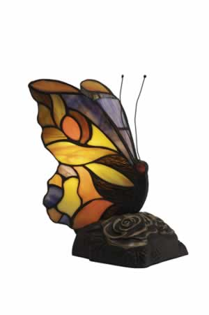 Orange Tip Tiffany Butterfly With Dark Granite Finish Base
